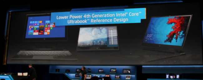 An image of Intel's CES 2013 Ultrabook presentation