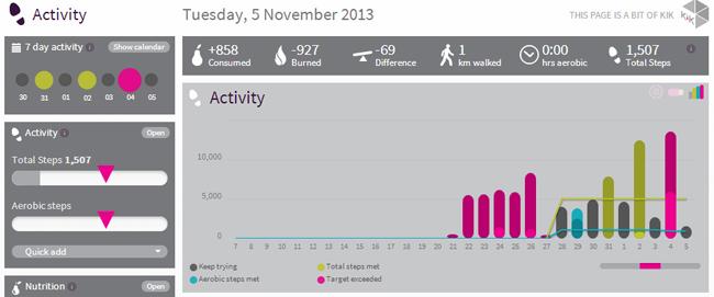 Fitbug activity chart