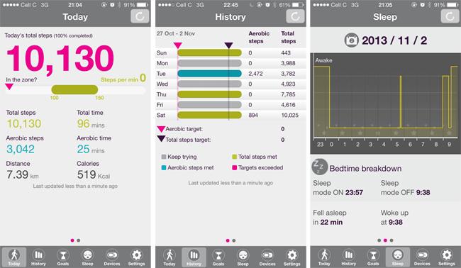 Fitbug app screenshots