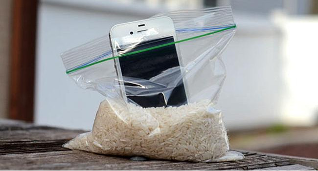 Phone in rice