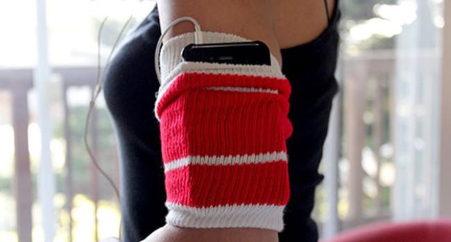 iPhone jogging sock holder