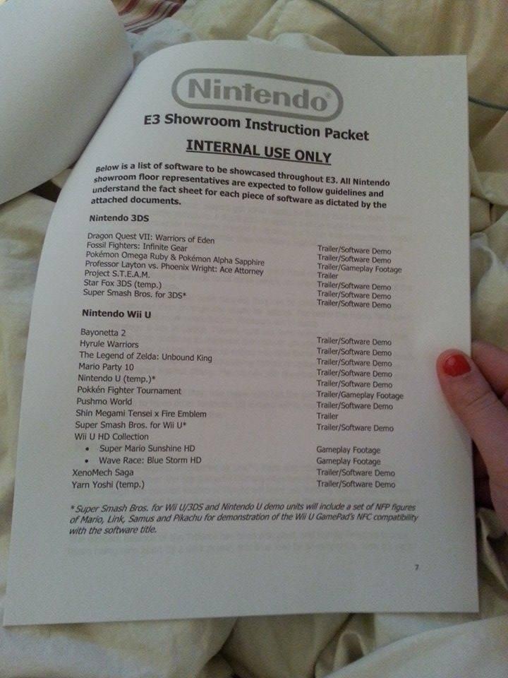 Nintendo E3 games list