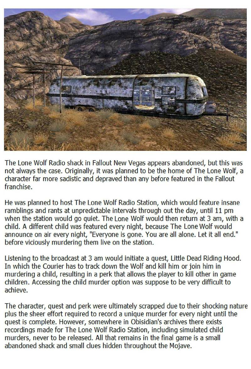 Fallout: New Vegas' almost included gruesome child murder quest
