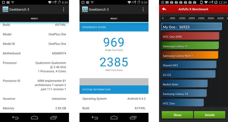 OnePlus One Geekbench 3 & Antutu X Benchmark Scores