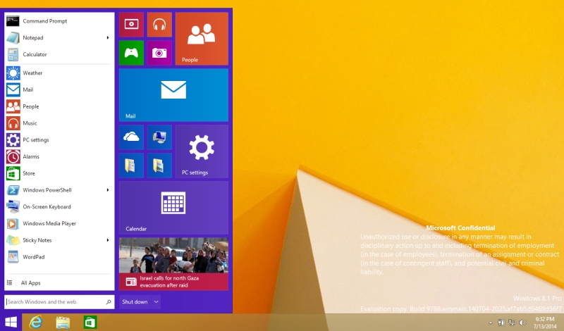 windows 9 leaked start menu