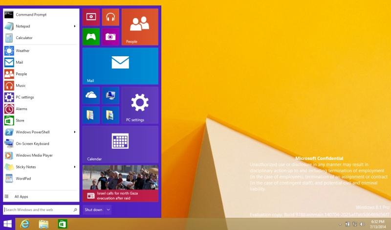 windows 9 leaked start menu