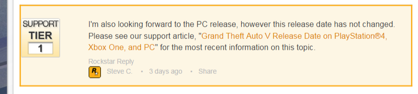 Is GTA 5 For PC being delayed  – Rockstar Support (1)