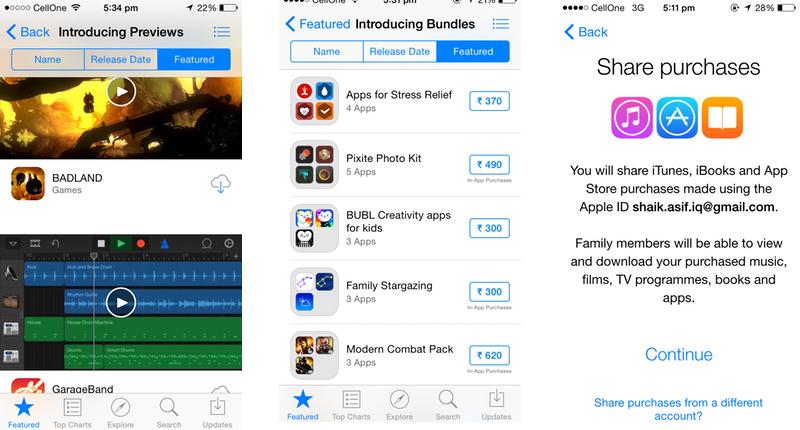 Apple iOS 8 App Store & Family Sharing