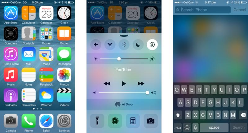 Apple iOS 8 Homescreen, Control Center, & Spotlight Search