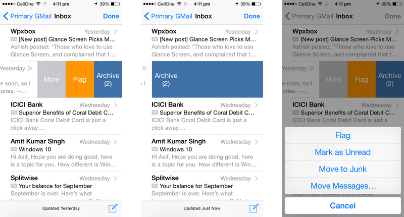 Apple iOS 8 Mail Actions