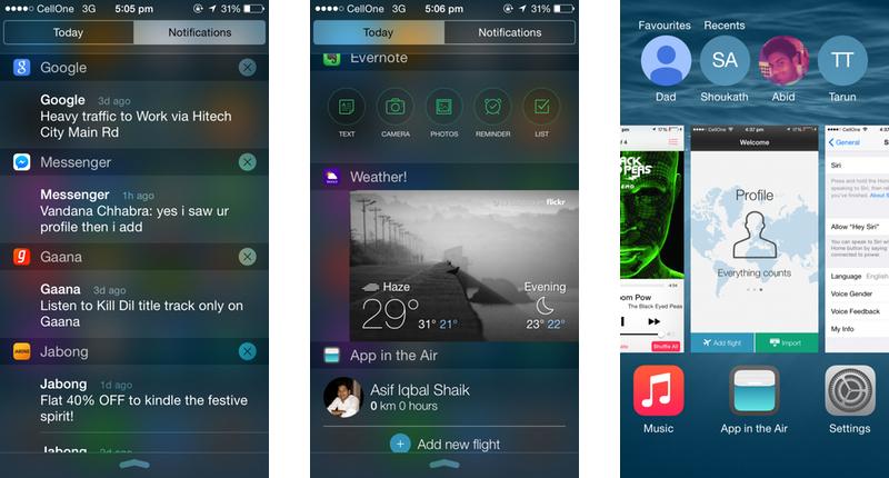 Apple iOS 8 Notifications, Widgets, & Multitasking