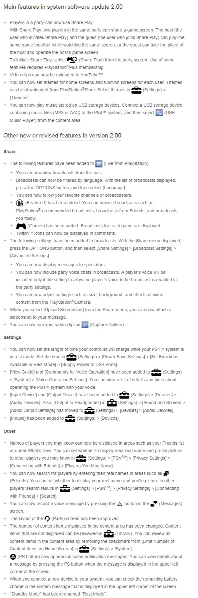 PS4 changelog