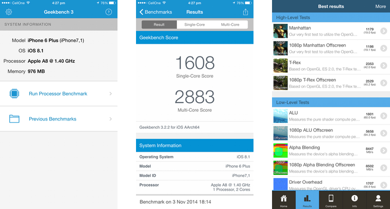Apple iPhone 6 Plus Review - Screenshot - Geekbench 3 and GFXBench