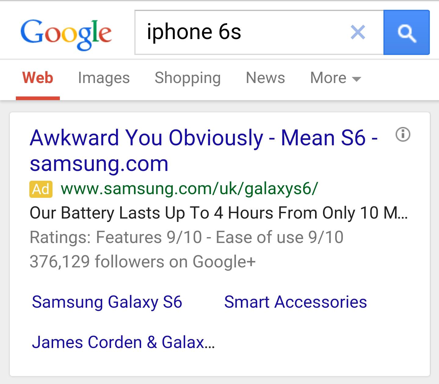 jon reed Samsung S6 iPhone 6s ad