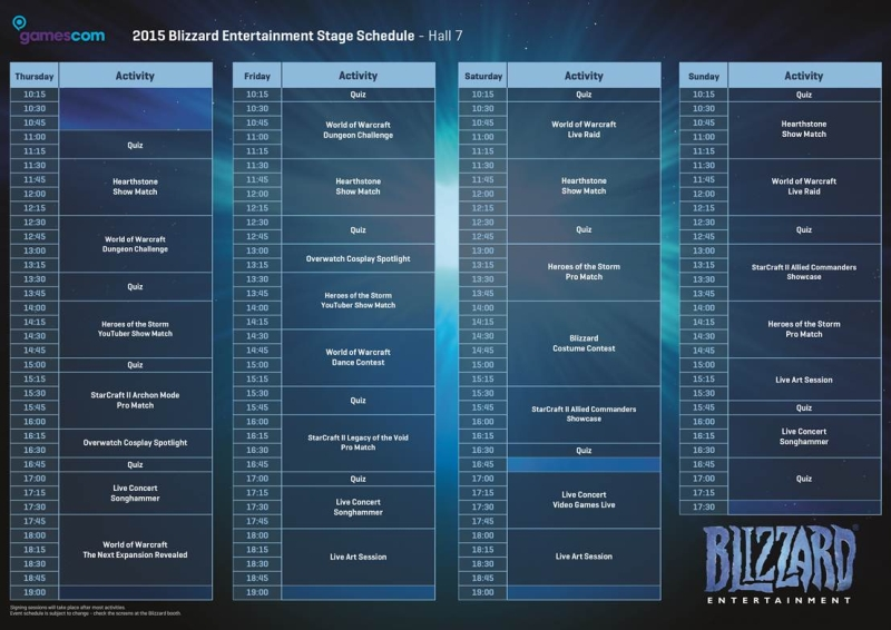 bilzzard gamescom 2015 schedule