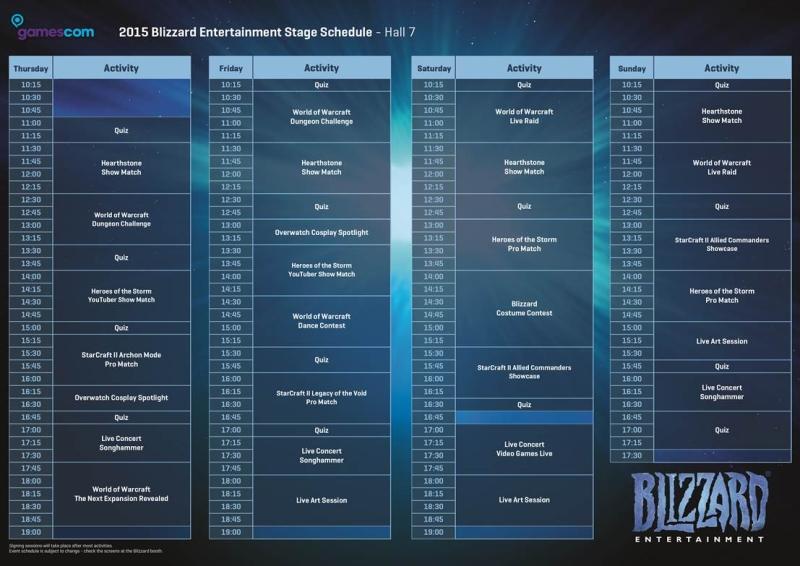 bilzzard gamescom 2015 schedule