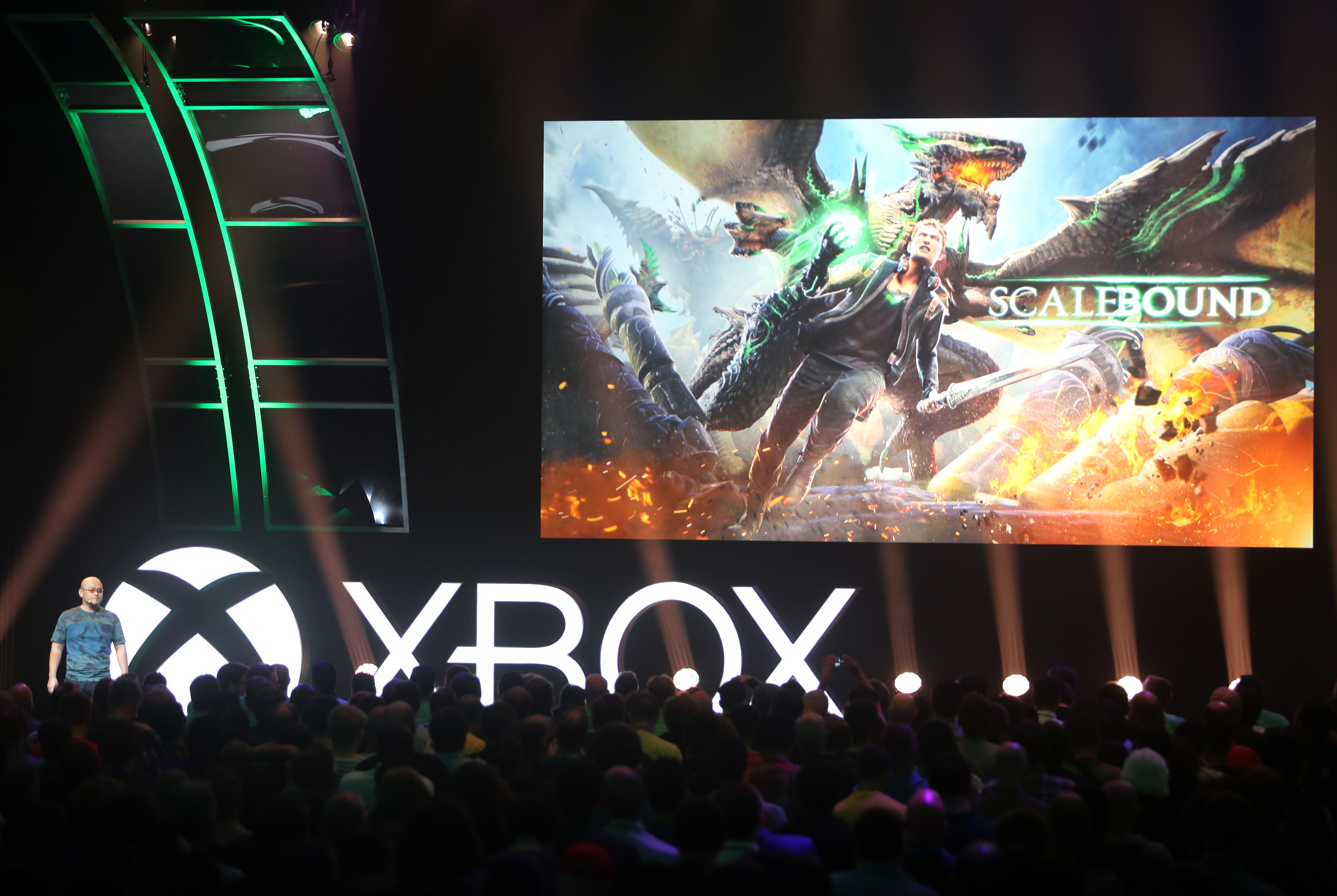 Hideki Kamiya, Game Director, PlatinumGames, at the Xbox gamescom 2015 Briefing on Tuesday, 4 August 2015 in Cologne, Germany. (Photo by Juergen Schwarz for Microsoft)