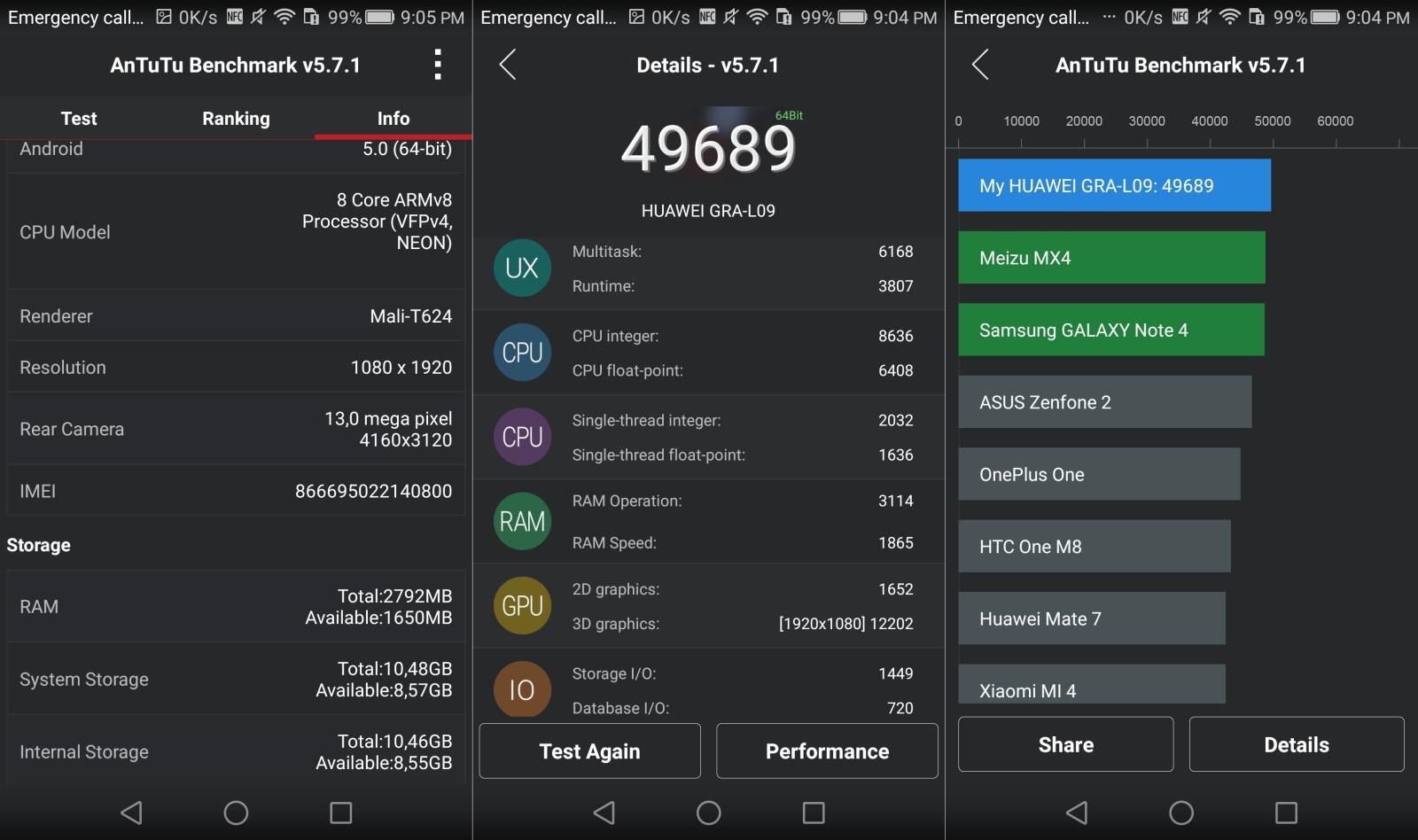 Huawei P8 antutu benchmarks