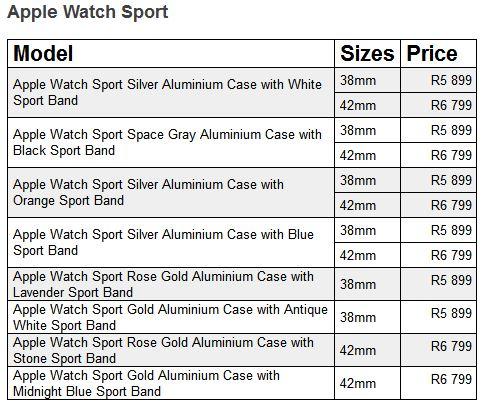 apple watch sport prices sa