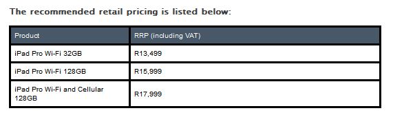 ipad pro south africa pricing