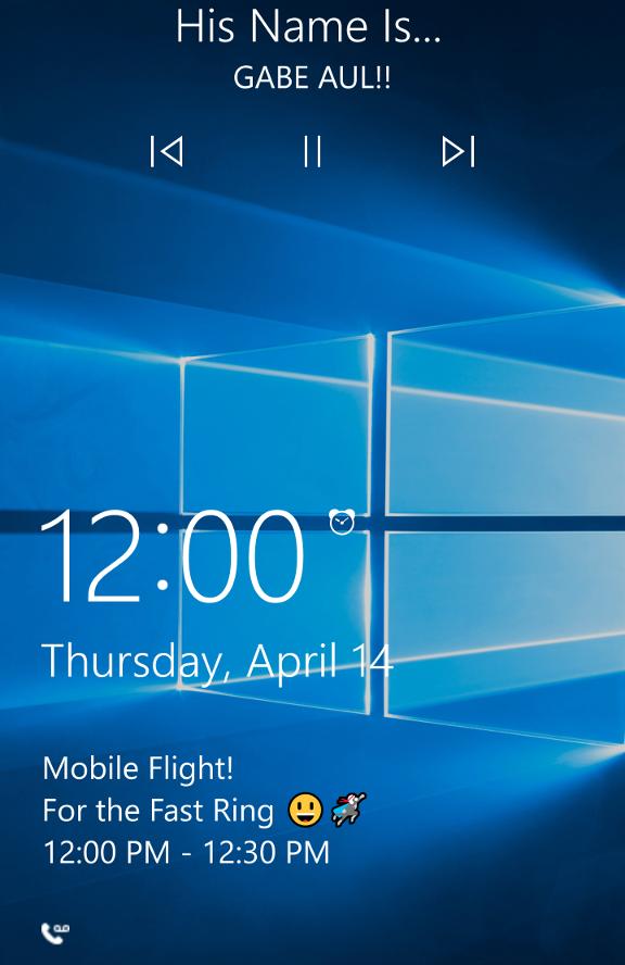windows 10 mobile lockscreen