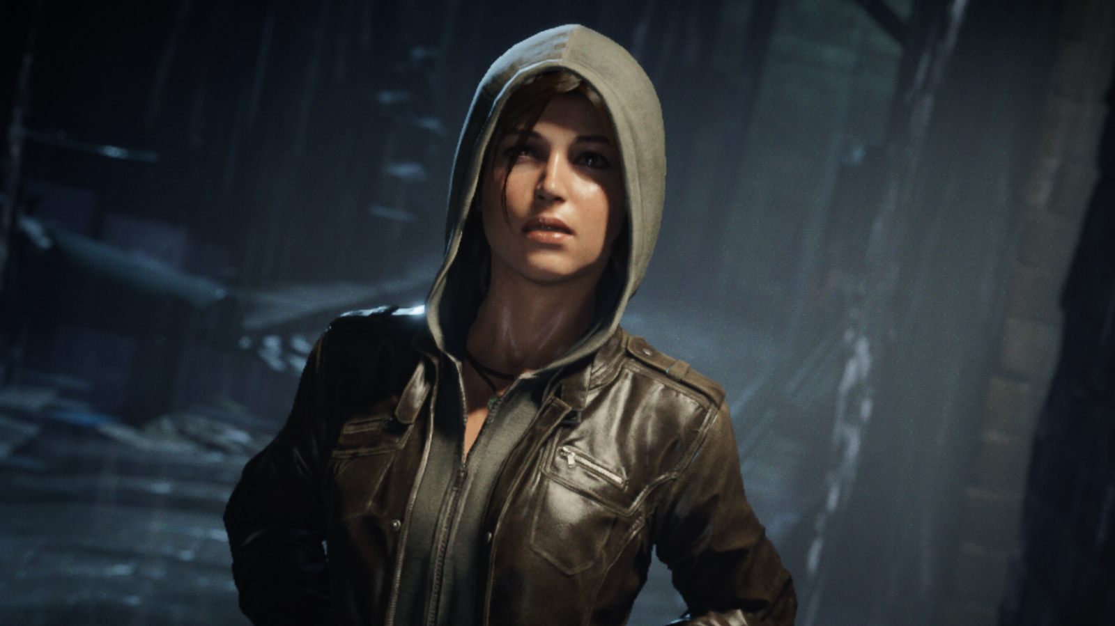 Lara dons a hoodie during a rainy, London night.