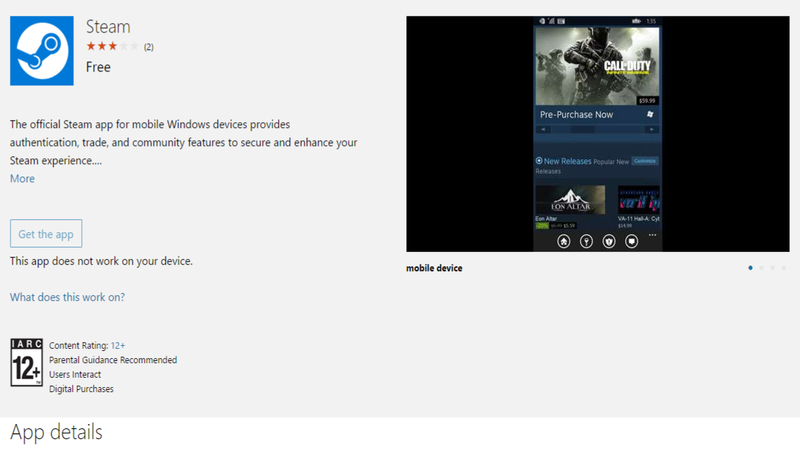 One less app: Steam hits Windows 10 Mobile - Gearburn