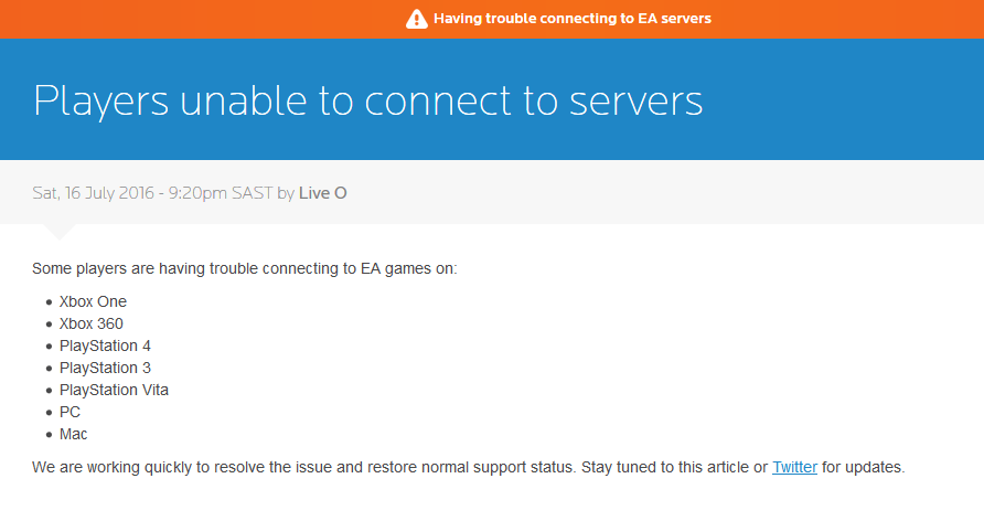 EA servers down in Europe, North America [Update: they're up
