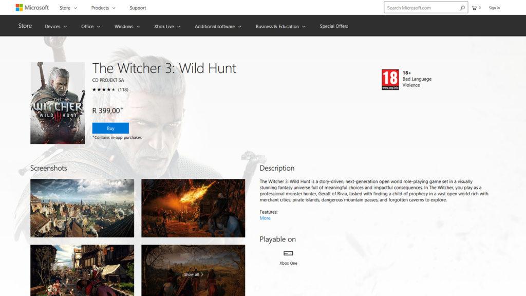 the witcher 3: wild hunt xbox one store price