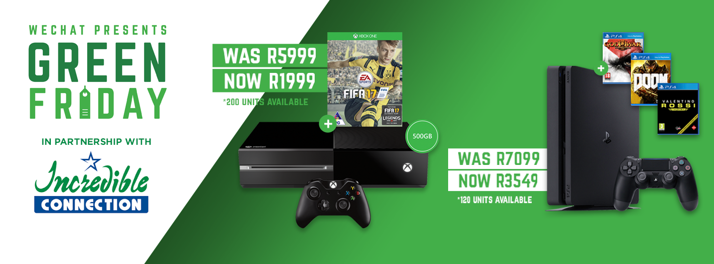 wechat xbox one playstation 4 black friday south africa 2016
