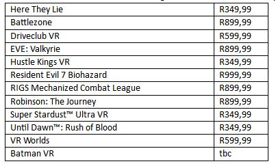 playstation vr launch titles south africa price