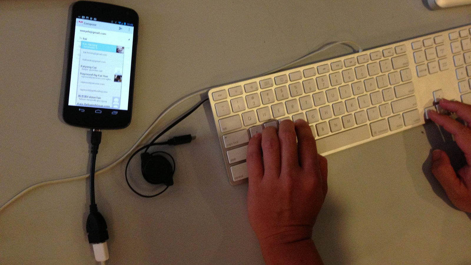 Android USB keyboard, Kai Hendry Flickr