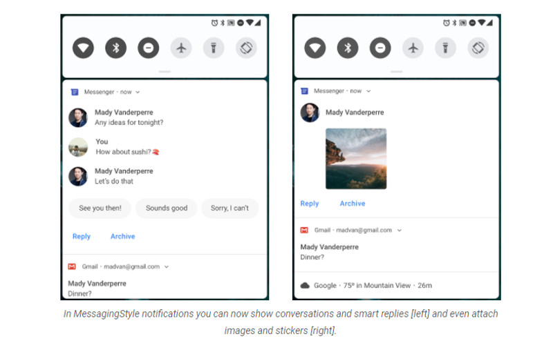 android p,notifications