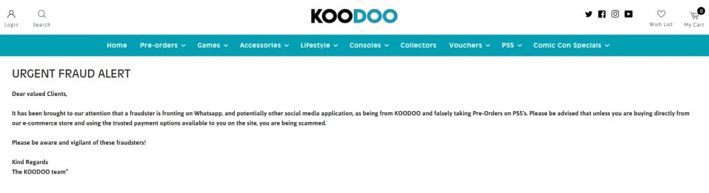 koodoo fraud warning ps5 pre order