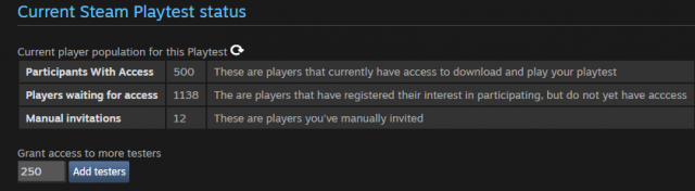 steam playtest feature invite players