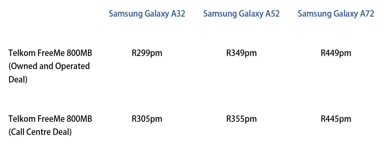 Samsung Galaxy A series A32 A52 A72 Telkom