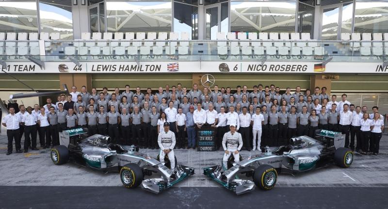 Mercedes GP W05 Hybrid team photo 2014