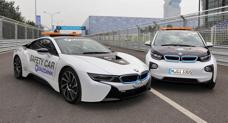 Beijing (CN), 12th September 2012. FIA Formula E Championship. BMW i8 Safety Car, BMW i3 Safety Car. This image is copyright free for editorial use © BMW AG (09/2014).