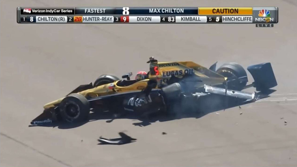 An IndyCar after hitting the wall.
