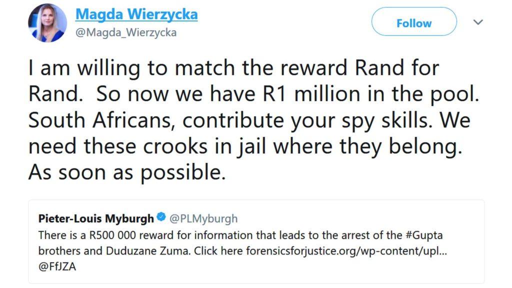 ajay gupta reward magda wierzycka twitter