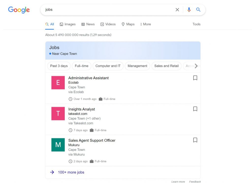 google search jobs