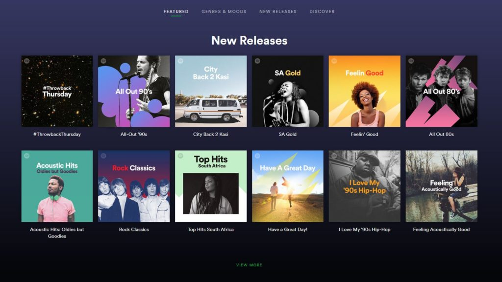 spotify south africa screenshot
