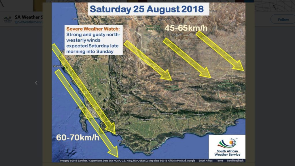 saws weather watch cape town august 25 26 twitter
