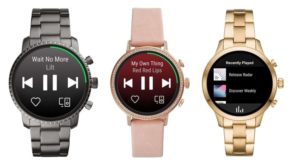 spotify wearos app fossil watches