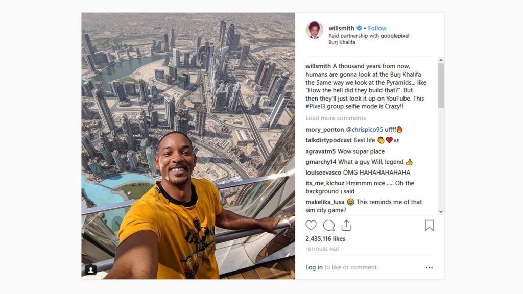 will smith google pixel instagram ad