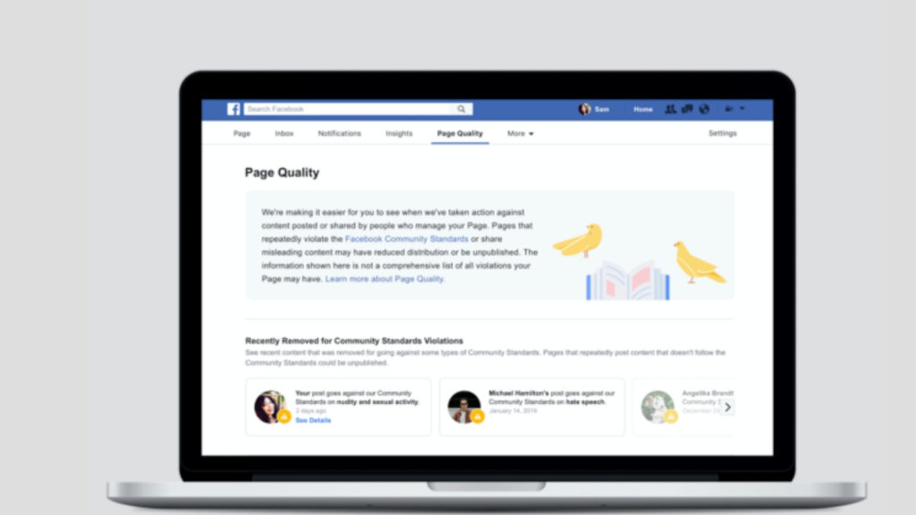 Facebook Page Quality tab