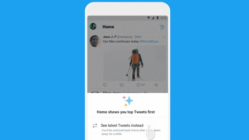 twitter reverse chronological button android