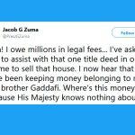 jacob zuma gaddafi millions tweet