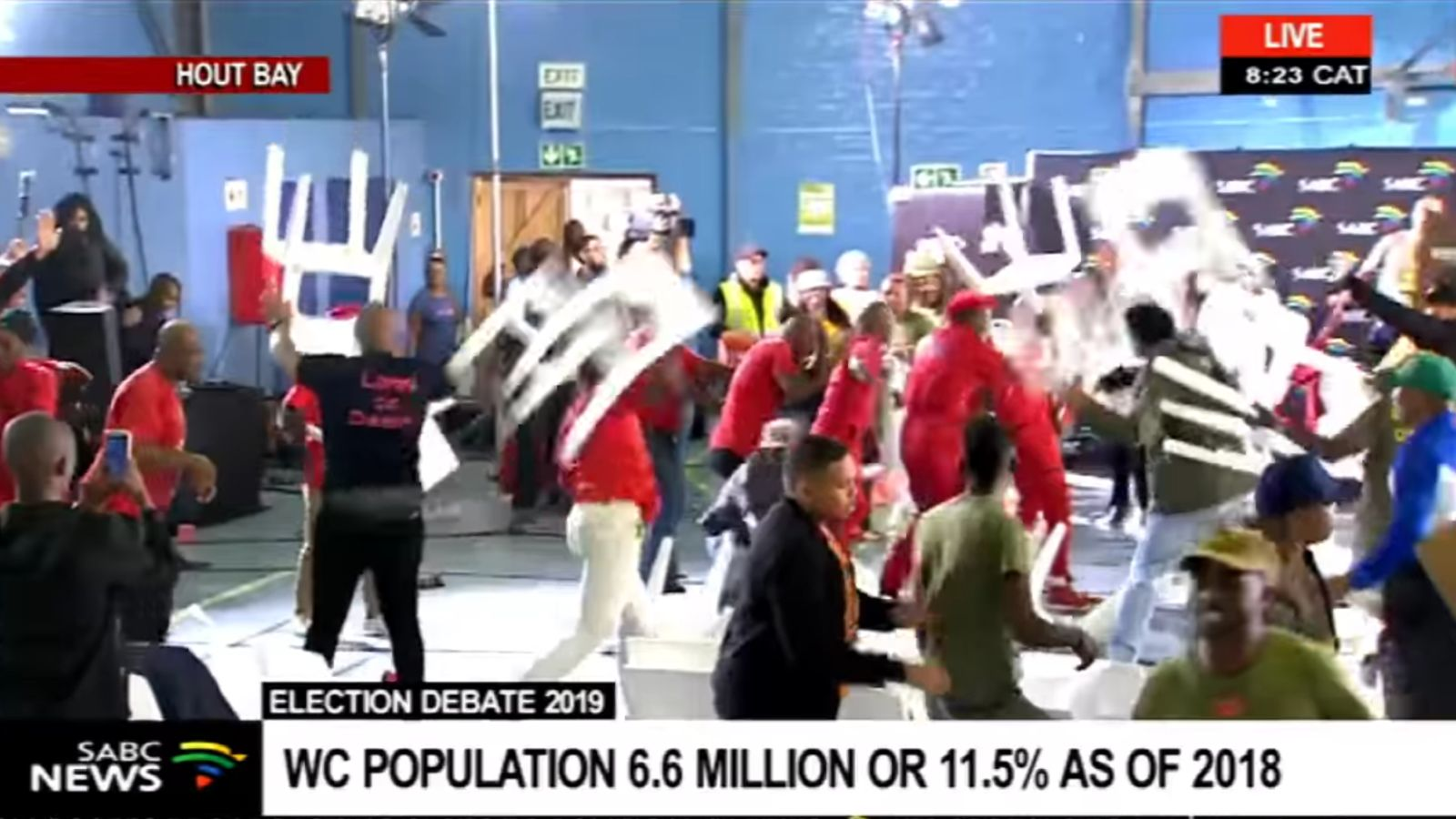 Eff land party throw chairs at one another during violent hout bay election debate