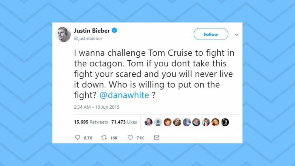 Twitter left bewildered after Justin Bieber challenged Tom